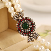 Vintage Red Crystal Chain Artificial Pearl Beaded Bracelet Multilayer Bangle for Women