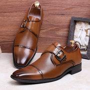 Chaussures formelles d'affaires en cuir microfibre en cuir antidérapant rétro pour hommes