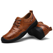 Men Cow Leather Lace Up Soft Wear-resistant Sole Casual Shoes
