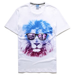 Mens Breathable Casual Tee Top 3D Animal Printed Round Neck Short Sleeve T-shirt
