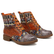 SOCOFY Cowgirl Splicing Pattern Genuine Leather Zipper Lace Up Comfortable Flat Boots