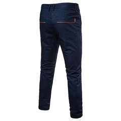 Mens Fashion Cotton Business Straight Pantaloni Zipper Fly Solid Color Casual Pantaloni