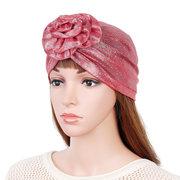Women Pearlescent Color Flower Headband Cap Outdoor Casual Flexible Caps