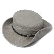Men Summer Cotton Washed Fisherman Hat Retro Embroidery Striped Casual Sunshade Hat