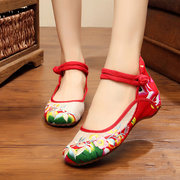 Embroidered Flower Buckle Retro Mary Jane Casual Shoes