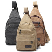 Men Military Canvas Shoulder Sling Chest Bags Casual School Bag