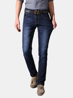 Mens Fashion Urban Style Classic Slim Stretch Pleated Pattern Jeans