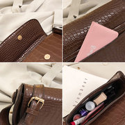 Women Crocodile Pattern Saddle Bag Solid PU Leather Crossbody Bag
