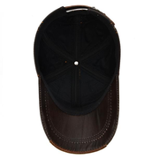 Mens Cowhide Leather Baseball Cap Casual Cosy High Quality Sunshade Leather Cap Adjustable