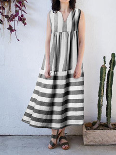 Casual Sleeveless Striped V-neck Patchwork Plus Size Dress