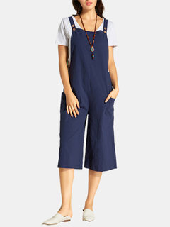 Side Pockets Button Casual Solid Color Jumpsuit
