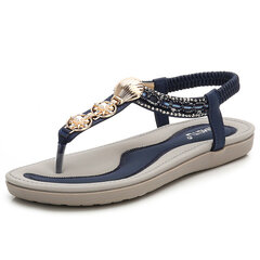Metal Clip Toe Slip On Casual sandálias de praia