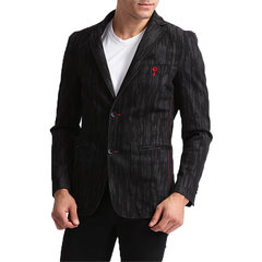 Black Casual Business Suits Cotton Printing Blazers for Men