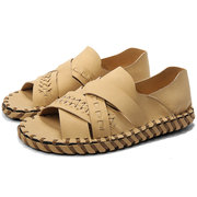 Men Woven Style Hand Stitching Leather Non Slip Casual Beach Sandals