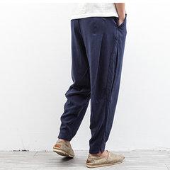 Pantalon long décontracté souple en lin à cordon de serrage en couleur pure pour homme