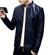 Mens Washable Business Motorcycle PU Leather Coat Stand Collar Jacket