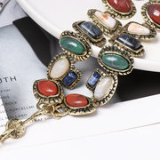 Vintage Geometric Gem Pendant Necklace Colorful Chain Necklace Bohemian Jewelry for Women