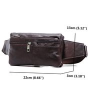 Multi Pocket Waist Bag Genuine Leather Crossbody Shoulder Chest Bag For Men