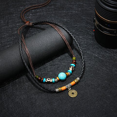 Vintage Pendant Necklace Wax Rope Irregular Beades Copper Cash Charm Necklace Ethnic Jewelry for Men
