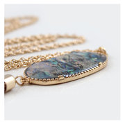 Vintage Pendant Necklace Oval Colorful Rock Chain Tassels Charm Necklace Ethnic Jewelry for Women