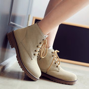 Large Size Suede Round Toe Lace Up Ankle Boots For Women