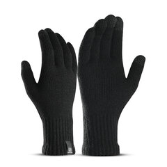 Men Touch Screen Winter Cycling Gloves Wool Thick Windproof Warm Outdoor Ski Full-finger Gloves