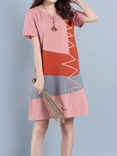 Casual Patchwork Multi-color Short Sleeve O-neck Dress For Women