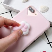Squishy 3D Toys Phone Cat Case Cartoon Sea Cover Funny Foot Soft Cases