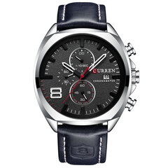 Chronometer Casual Style Male Sport Watch Leather Strap Analog Quartz Watch