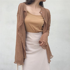 Cardigan a pieghe temperamento di stagione in camicia di chiffon lunga Top + Bottoming Bottom Fashion Casual Two-piece Women