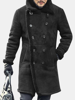 4675bd611 Mens Mid Long Faux Leather Coat Winter Warm Fur Leather Double-breasted  Suede Jacket