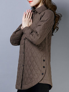 Solid Color Turn-down Collar Button Cottn Coat