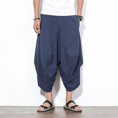 Mens Casual Cotton Harem Pants Solid Color Baggy Loose Fit Wide Leg Trousers