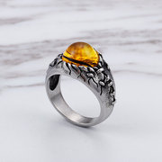 Vintage Punk Titan Stahl Ring Royal Magic Yellow Opal Edelstein Ring für ihn