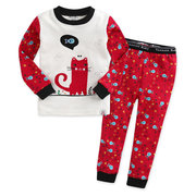 Girls 2 Pcs Pajama Set Red Cat Print Long Sleeve Top Pants Kids Sleepwear Set