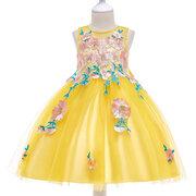 Blume Applique Mädchen Kinder Festzug Party Hochzeit Prinzessin Kleid Für 4J-13Y