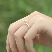 Fashion 925 Sterling Silver Rings Cute Gold Bird Branch Opening Adjustable Finger Rings for Women