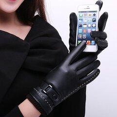 Мужские Женские PU Кожаные Перчатки Сенсорного Экрана Толстые Зимние Теплые Наружные Ветрозащитные Варежки