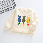 Winter Girls Sweater Cartoon Cat Cashmere Shirts For Girls Sweet Infant Tops Warm Thicker Kids Cloth