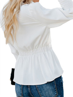 Chic Solid Color Long Sleeve V Neck Blouse