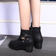 Star Decoration Chunky Heel Warm Fur Ankle Zipper Boots