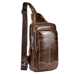 Retro Genuine Leather Sling Bag Business Chest Bag Crossbody Bag For Men