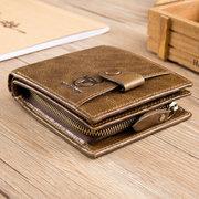 Bullcaptain portefeuille court vintage en cuir de vache porte-cartes porte-monnaies
