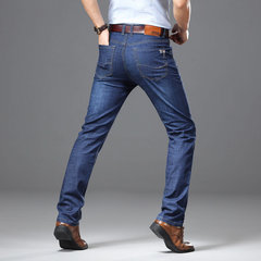 Mens denim summer stretch business straight jeans slim thin pants