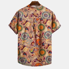 Mens Loose Funny Printed Stand Collar Short Sleeve Henley Shirt