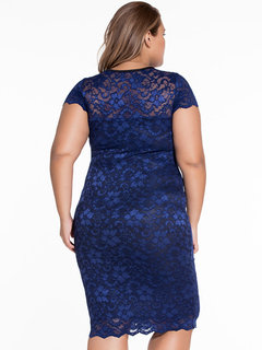 Sexy Women Plus Size V-Neck Short Sleeves Lace Hollow Out Dress