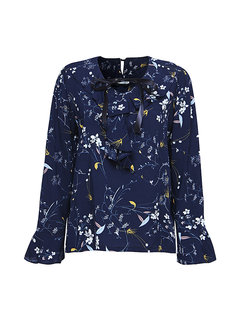 Fashion Floral Printing Trumpet Sleeve Lace Up Blouse For Women