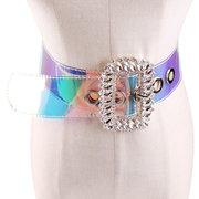 Súper Agua Diamante Láser Transparente Ancho Cinturón Diamante de Mujer Largo Hebilla Cuadrada Cintura Alta Cinturón Pvc Faja Plástica