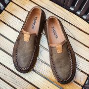 Menico Slip da uomo in pelle cuciture cuciture antiscivolo su scarpe da guida casual