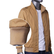 Casual Outdoor Epaulet Polyester Thin Jacket Slim Fit Stand Collar Coat For Men